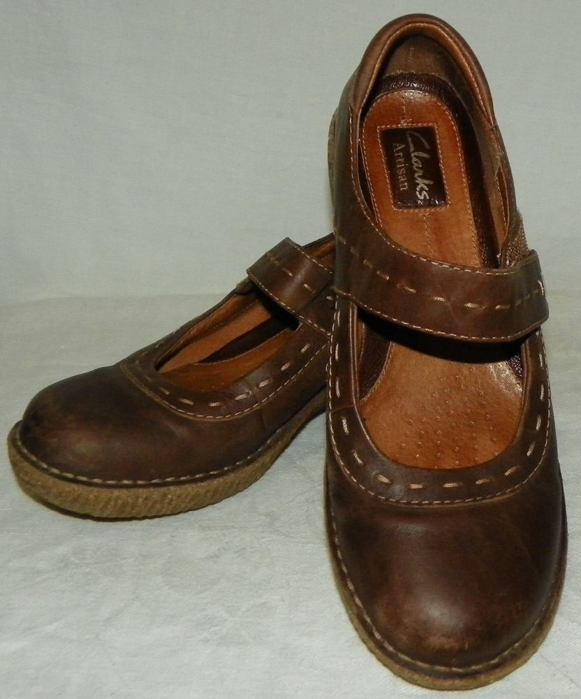 1cab914b46a12 Clarks Artisan Active Brown Leather Mary Jane Wedge Sandals Shoes Womens  Size 8M #Clarks #