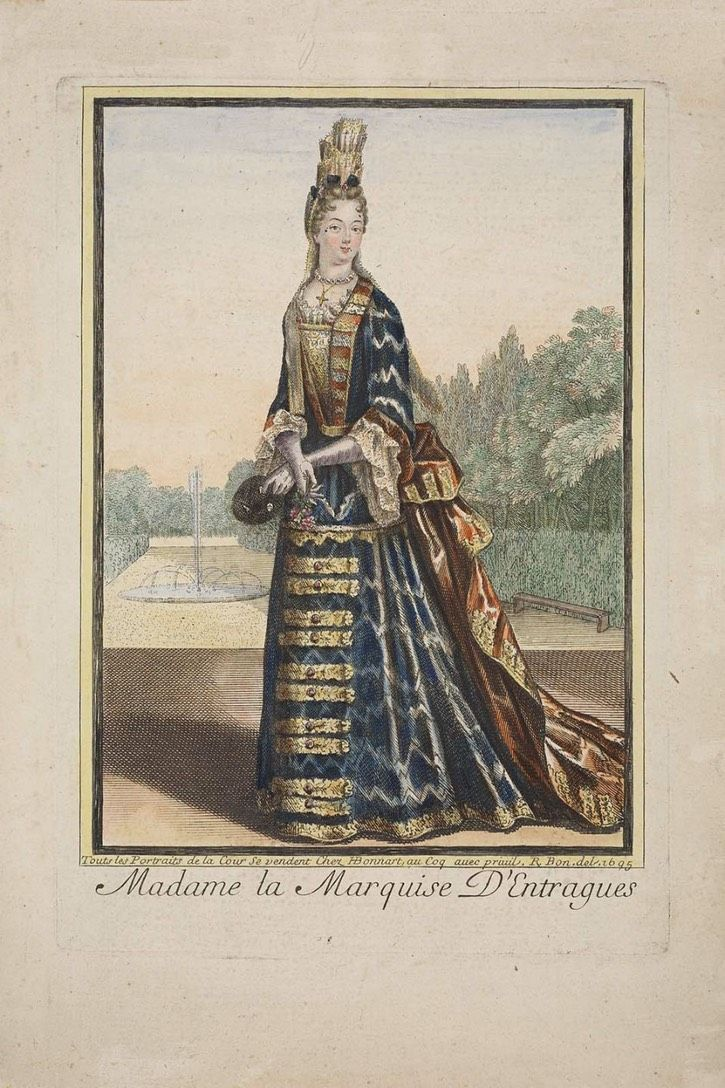 Marquise d'Entragues wearing a Fontanges headdress and mantua | Grand Ladies | gogm