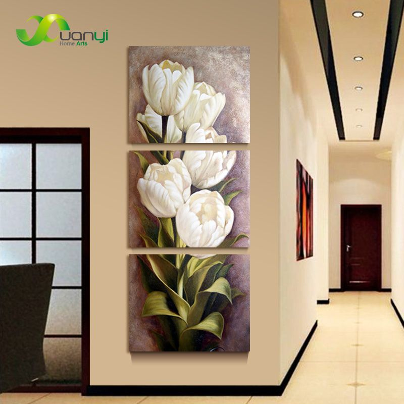 3 Piece Oil Painting Living Room Modern Wall Painting Flower