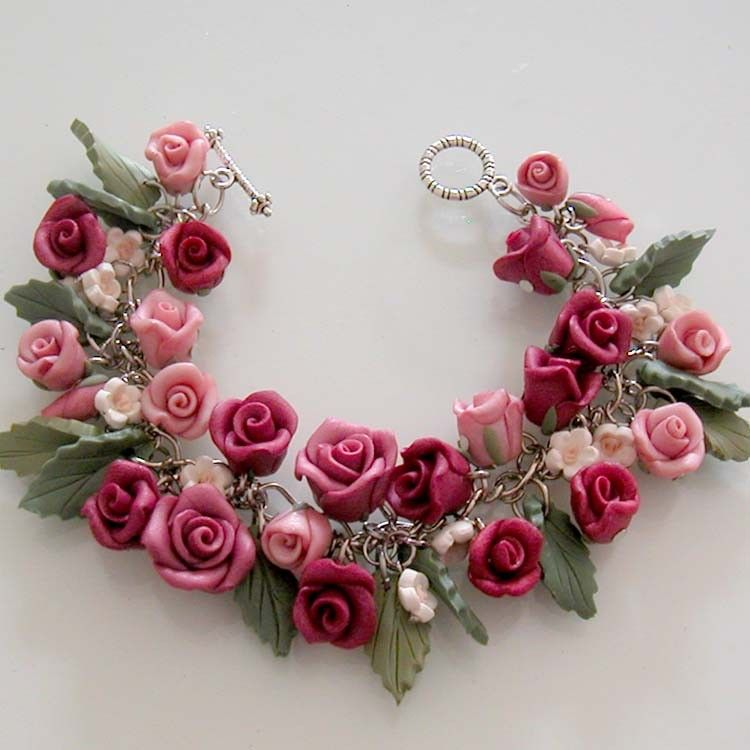Polymer Clay Charm Bracelet: Burgundy Rose Charm Bracelet - Polymer Clay