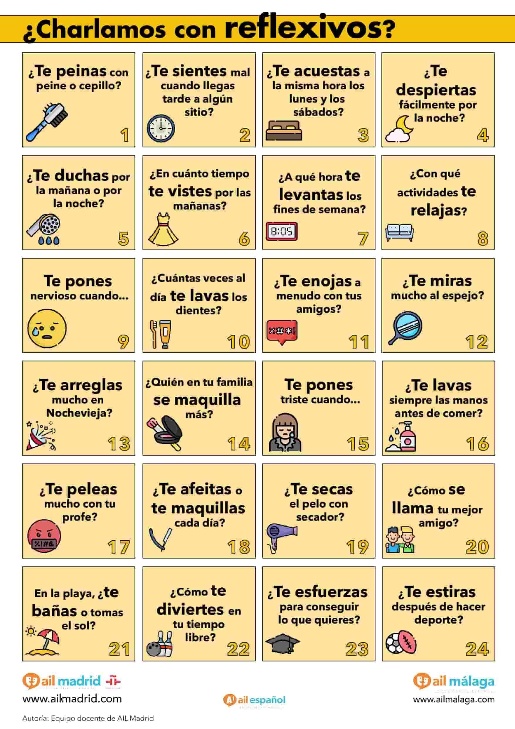 Actividad Ele De Verbos Reflexivos En Presente De A1 Ejercicios Para Aprender Español Aprender Español Conversacion En Español