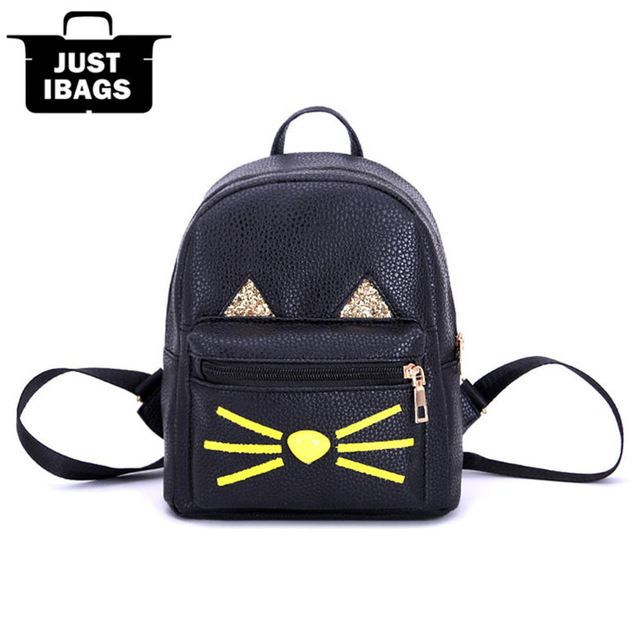 93195a25b0ee Printing Cute Cat Women PU Sequin mini Backpack School Bag backpacks ...