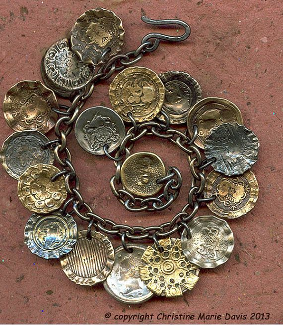 Vintage Wire Chain Jewelry Making Brass Chain Custom: Smashing Button CHARM Bracelet On STEEL Chain For The