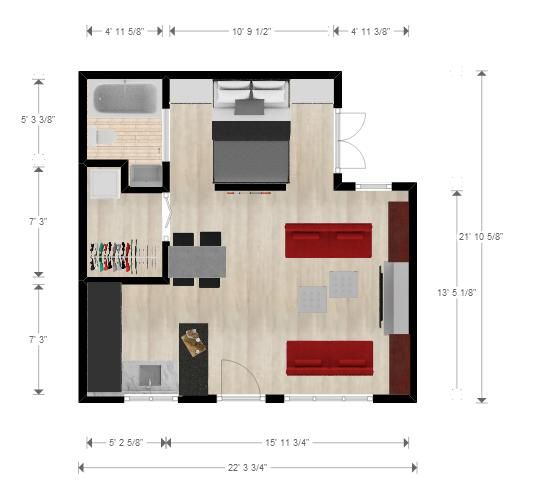 cabin or studio floorplan 22x22 ft- fireplace and dressing room