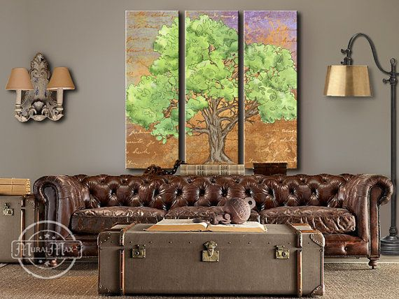 """Tree of life 3 panel splits, 48"""" x 48"""" canvas reproduction from original art"""