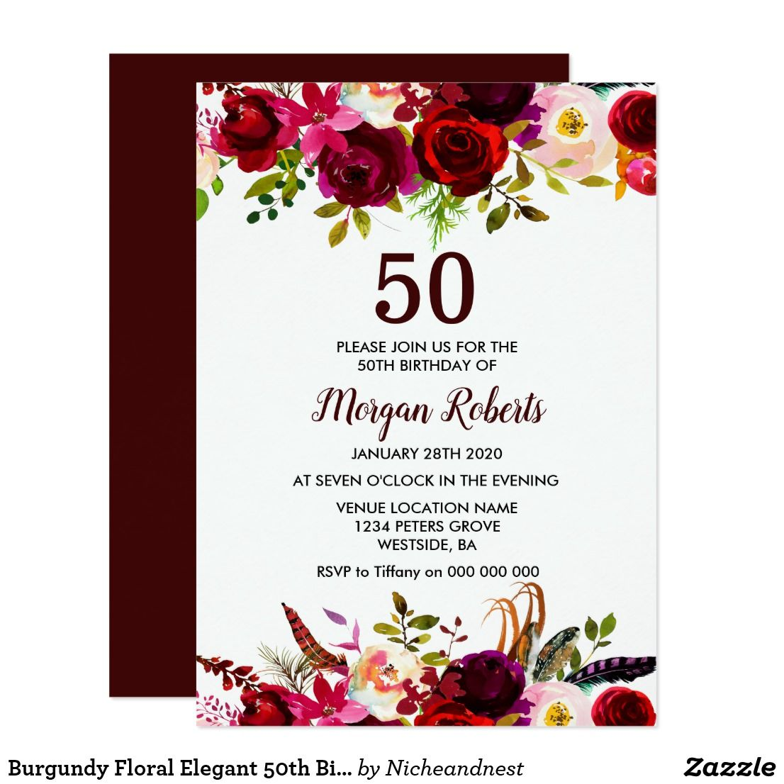 Burgundy Floral Elegant 50th Birthday Party Invite in 2018 | { Happy ...