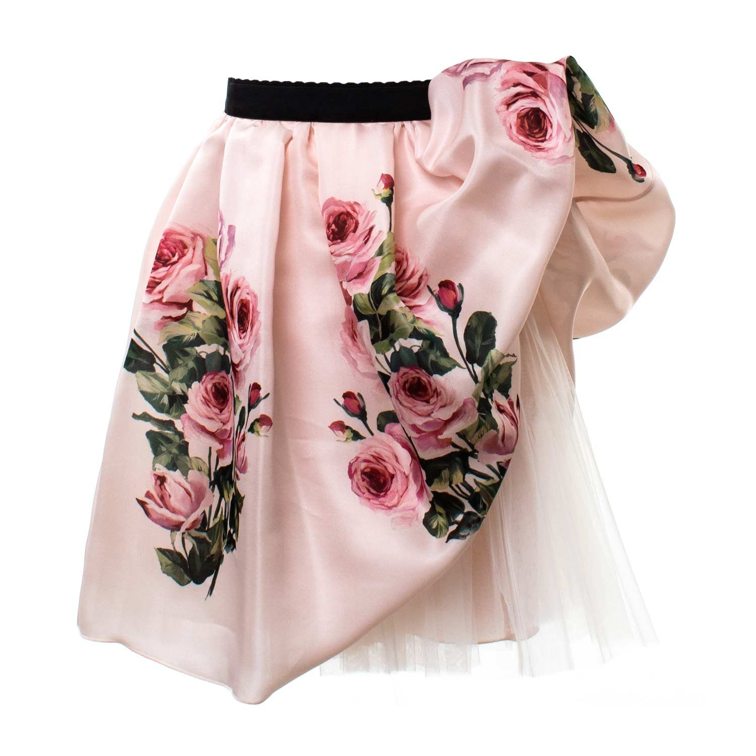 Dolce   Gabbana - Gonna Bambina In Seta Rosa - Raffinata gonna