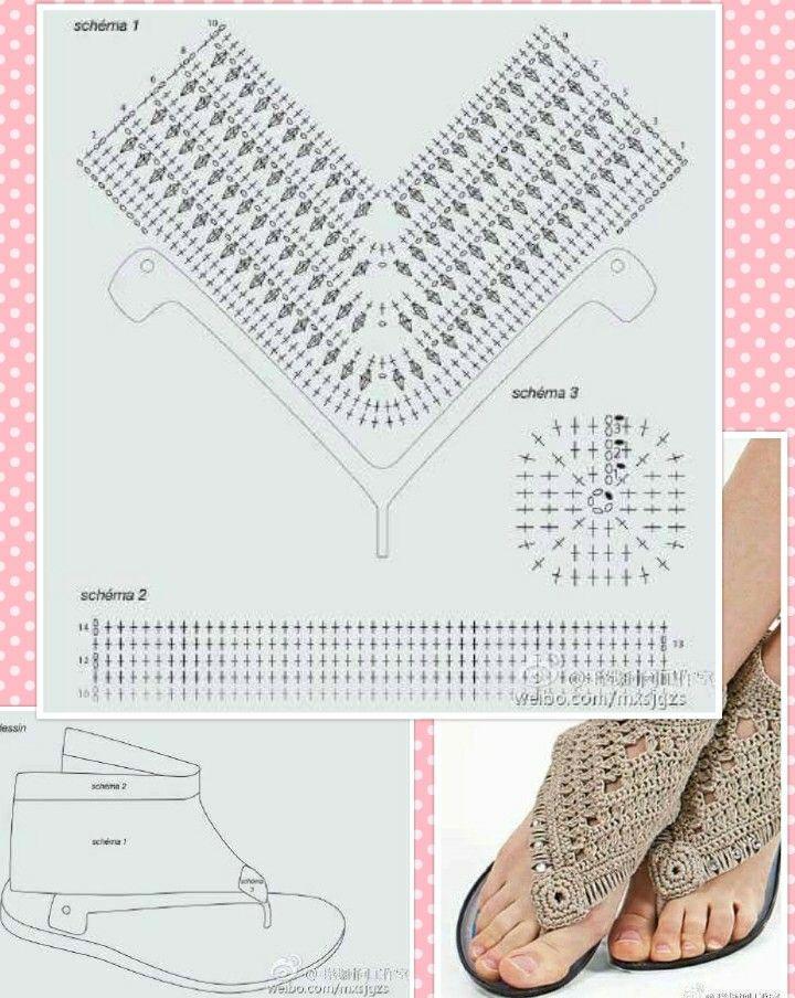 Barefoot sandals crochet modelo y patron | crochet | Crochet ...