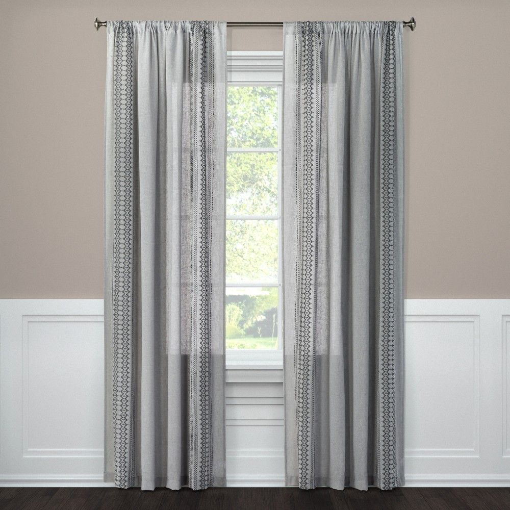 Tribal Design Window Sheer Grey 60 X95 Nate Berkus Drizzle Gray Panel Curtains Curtains Window Curtains
