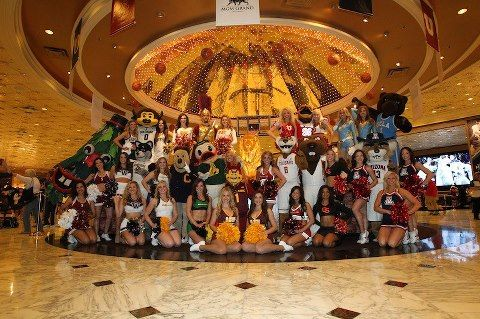 The Pac-12 mascots and cheerleaders get together for a group shot at the MGM Grand in Vegas for the 2013 basketball tourney!