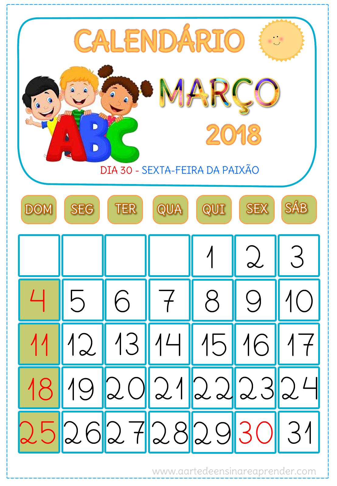 Calendário MARÇO 2018   Matem   Pinterest   Calendario 2018, Aula y ...