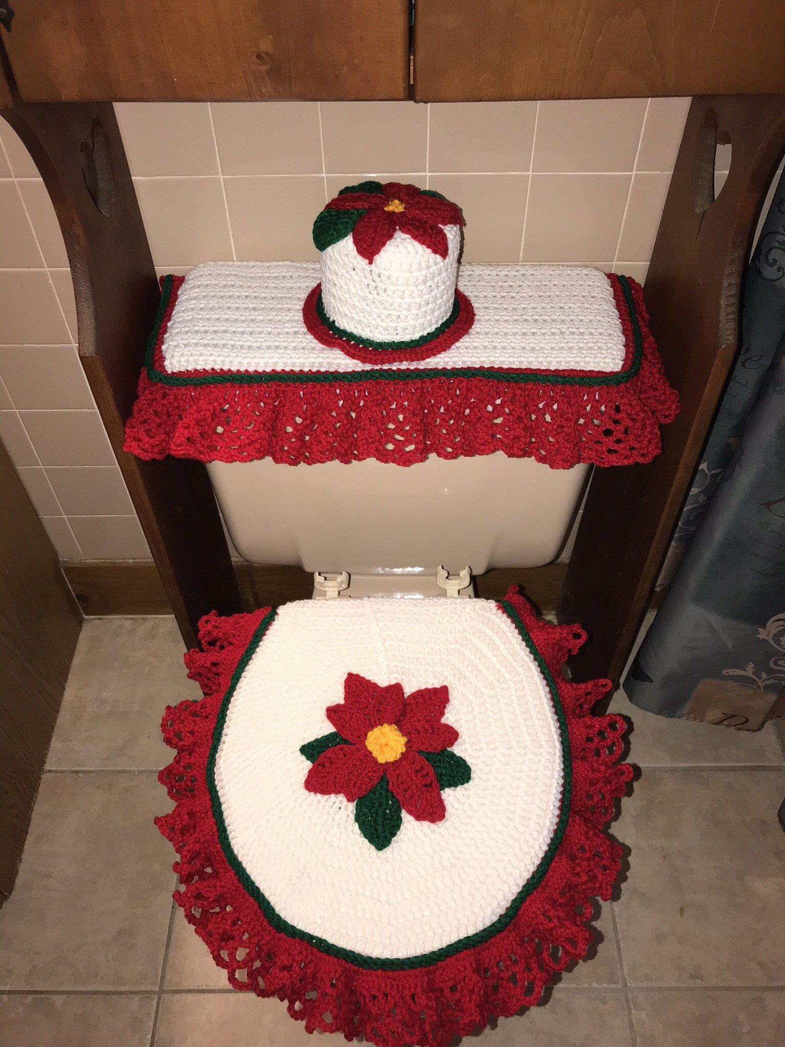Christmas crochet bathroom toilet cover set  Toilet covers