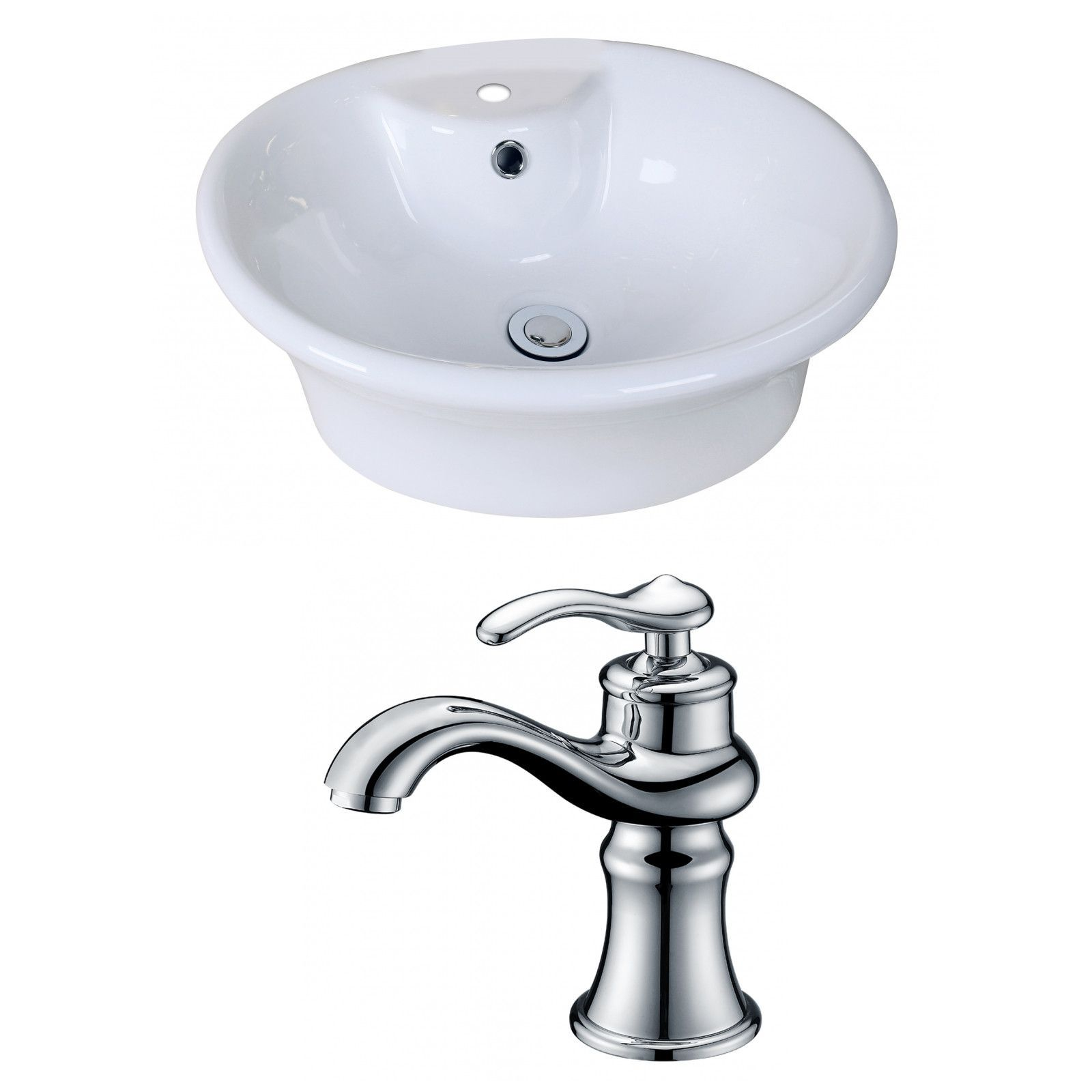 19-in. W x 15-in. D Oval Vessel Set In White Color With Single Hole CUPC Faucet