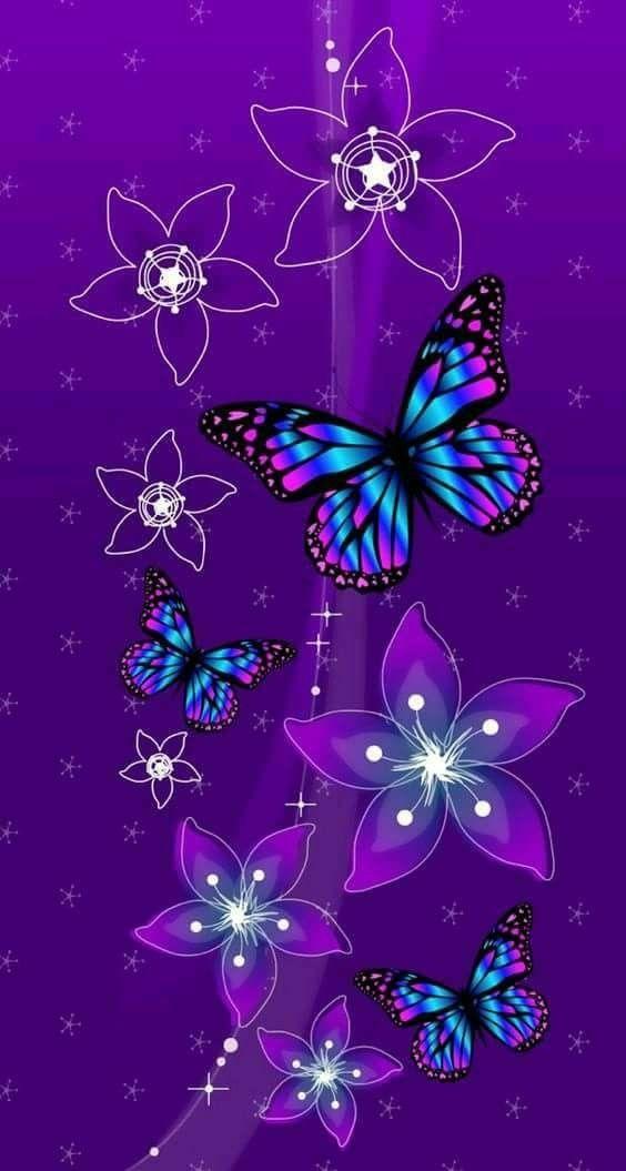 Purple Butterflies And Flowers Wallpaper