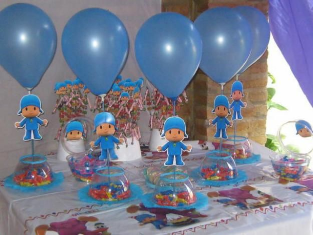 Centros de mesa sencillos de pocoyo ideas para for Mesas fiestas infantiles
