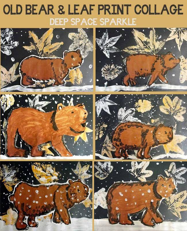 Old Bear: Leaf Print and Bear Painting | Deep Space Sparkle