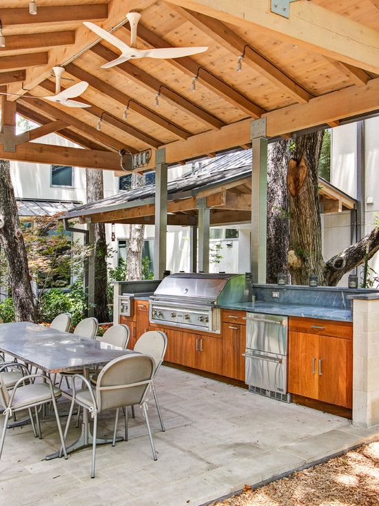 Kitchen Design Astonishing Kitchen Ceiling With Ornaments Wooden Beams On The Ro With Images Outdoor Kitchen Design Layout Covered Outdoor Kitchens Outdoor Kitchen Design