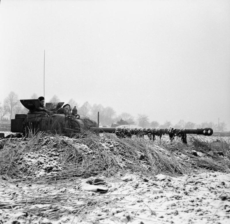 World War 2 A Sherman Firefly Dug In Near Gangelt On The Dutch