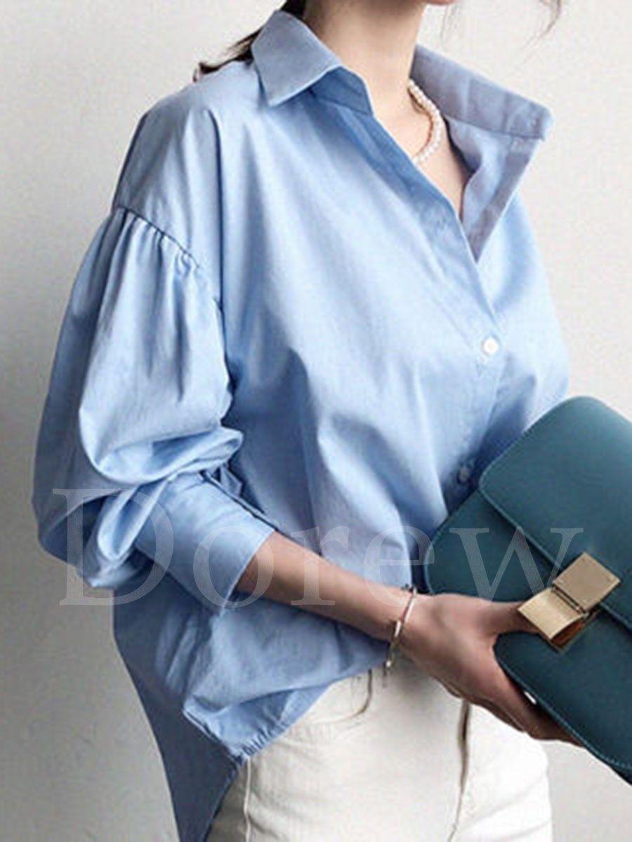 44a6e699a90f7 ファッション通販 #Fashion IMINOARU Dorewシンプル無地ゆったりOL通勤シャツレディースファッションパフスリーブ