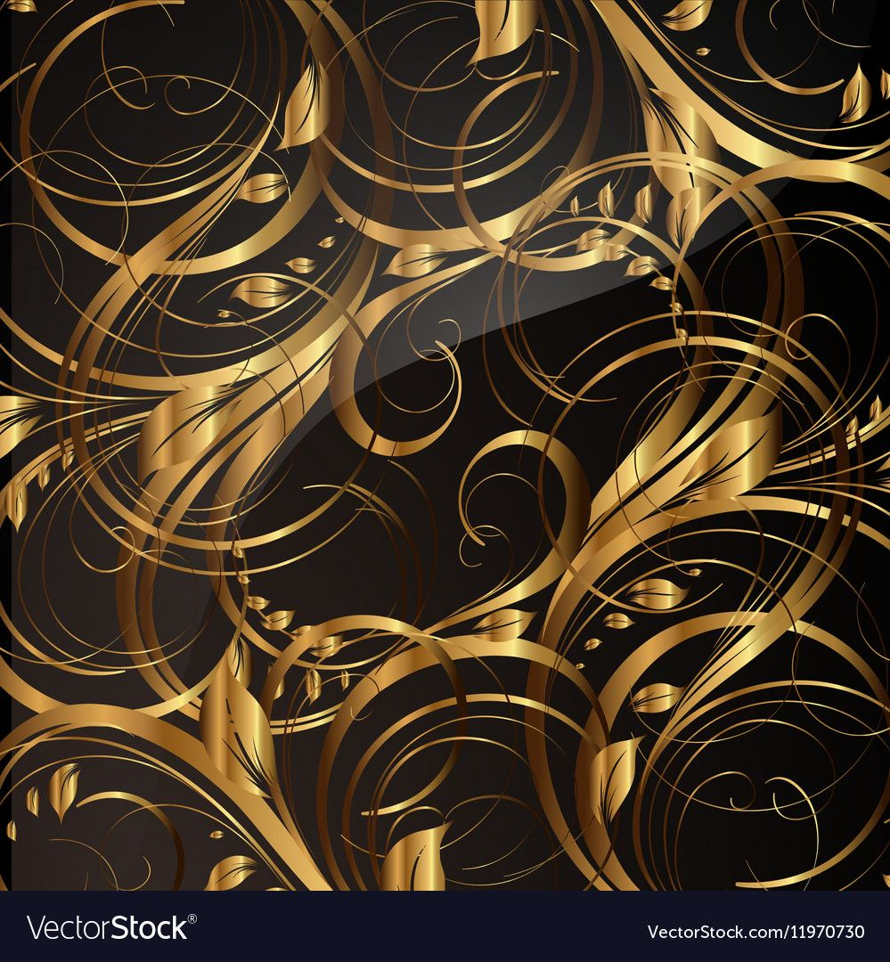 Gold Seamless Floral Background vector image on
