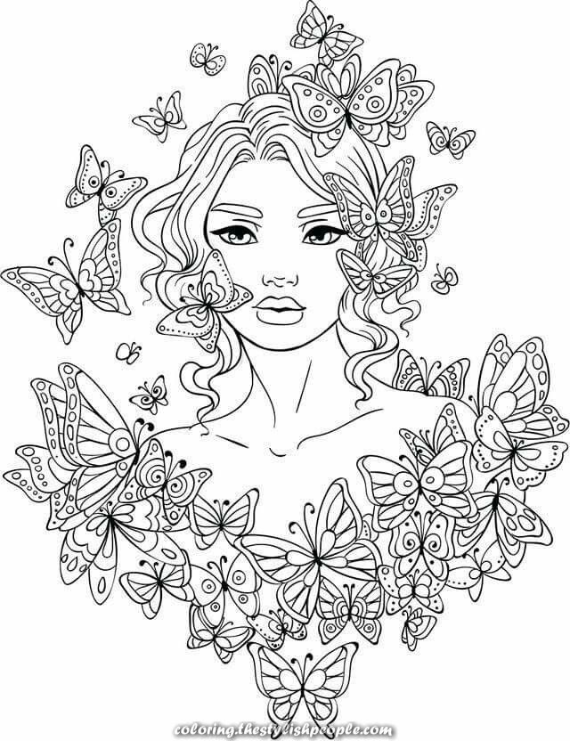 Excellent Lovely Grownup Coloring - Butterfly Girl Mandala Coloring Pages,  Fairy Coloring Pages, Butterfly Coloring Page