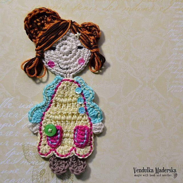 crochet sweet girl applique free pattern | Crochet Appliqués ...