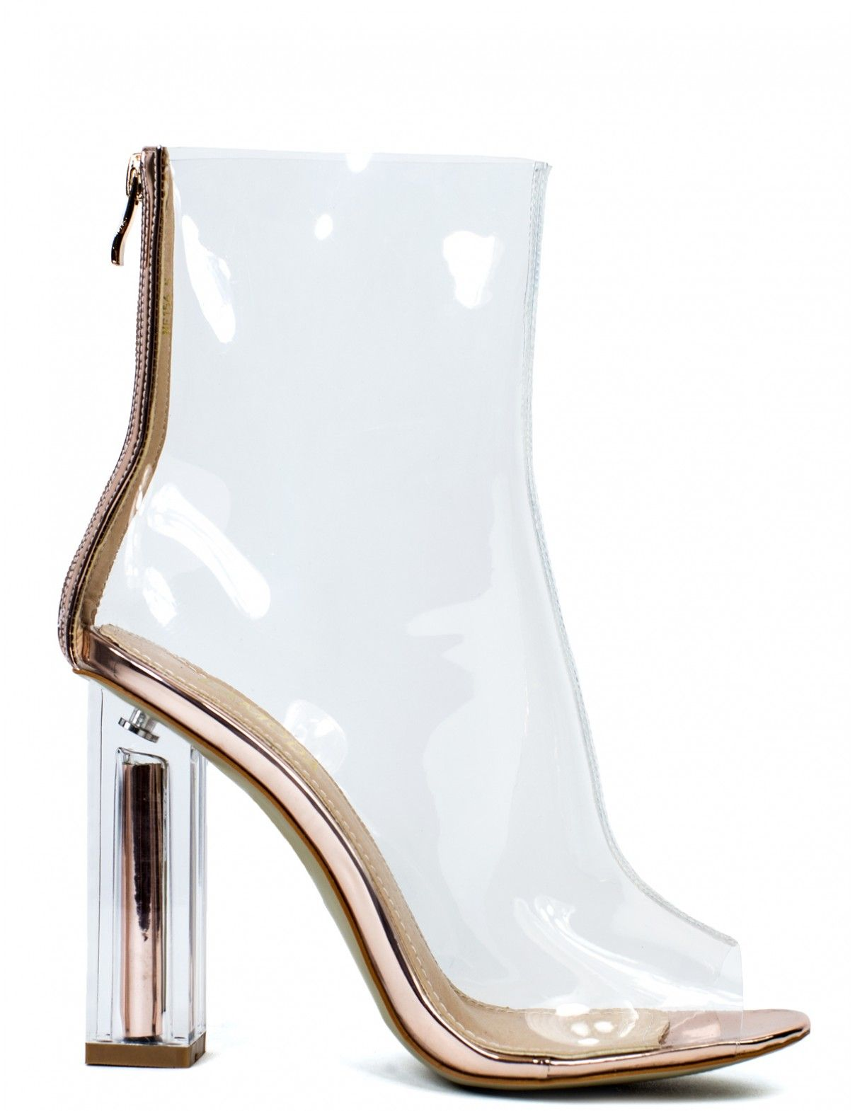 GOLD DIGGER CLEAR PERSPEX ROSE GOLD BLOCK HEELED BOOTS - As seen on SELENA GOMEZ! Exact match from LAMODA