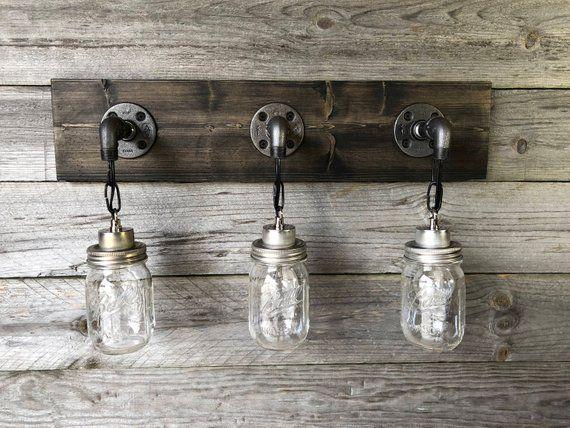 Photo of BLACK vanity lamp, mason jar lamp, wall lamp, pendant lamp, bathroom lamp, rustic, industrial, handmade, modern, pipe, gift