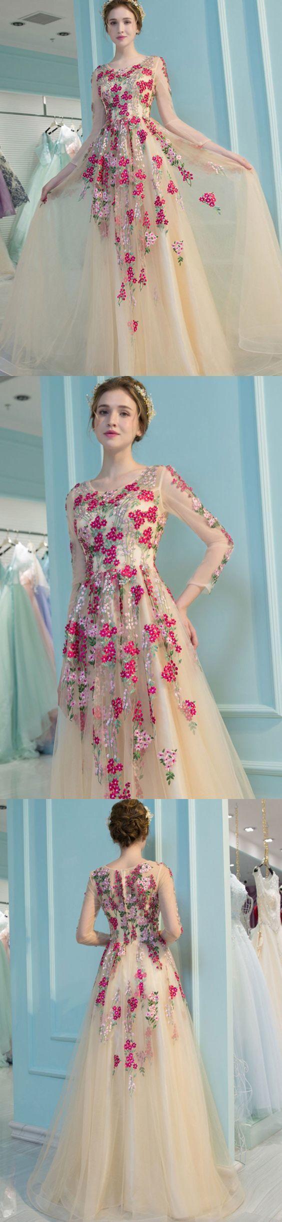 Prom dress appliques long sleeve beautiful cheap prom dressevening