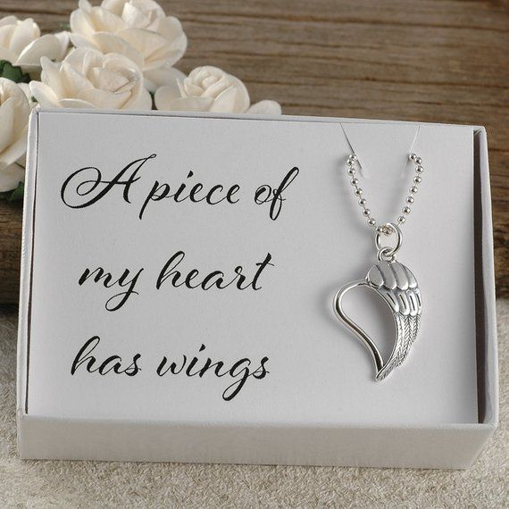 Photo of A piece of my heart has wings, memorial for dad, mom, sister, brother, aunt, uncle, baby, miscarriage, infant loss, sterling silver necklace