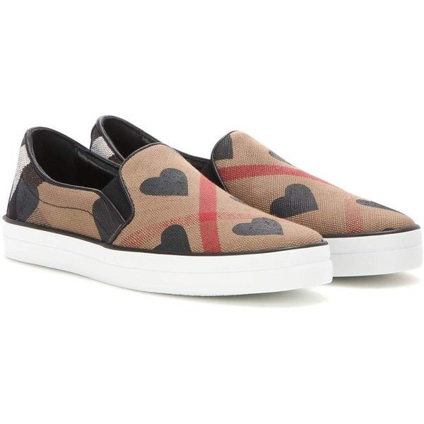 Burberry Brit Check Slip-on Sneakers (1.655 BRL) ❤ liked on Polyvore  featuring ce56c0aa5d8