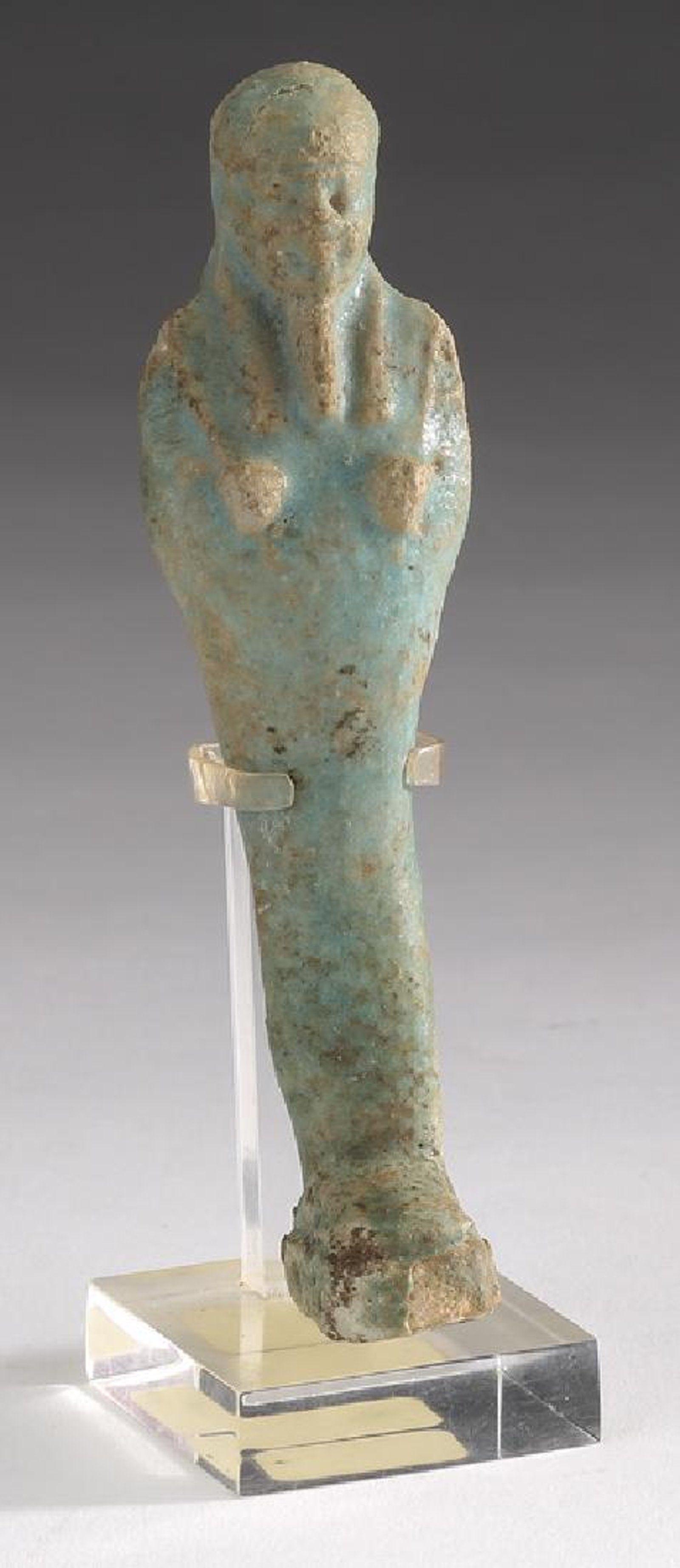 Ancient Egyptian Faience Ushabti W False Beard On Featured Items