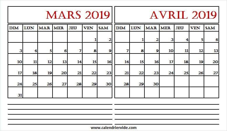 Calendrier Mois De Mars Et Avril 2019 March 2019 Calendar