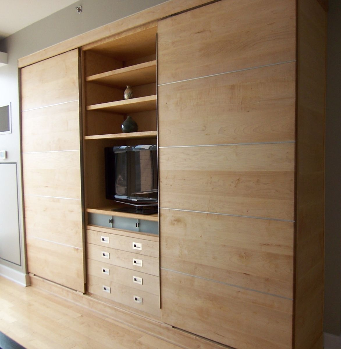 Custom Made Modern Wall Unit Of Maple Wall Storage Cabinets