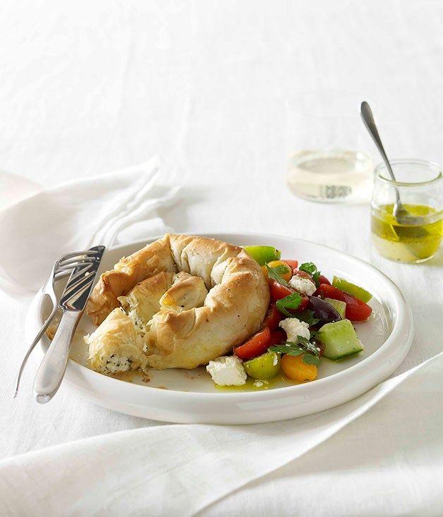 Haloumi, feta and mint boureki with Greek salad :: Gourmet Traveller