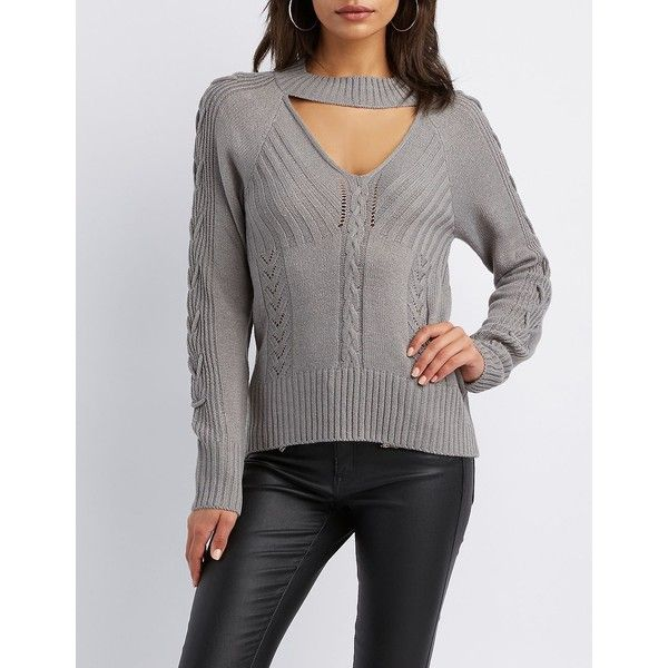 Charlotte Russe Cut-Out Lace-Up Detail Pullover Sweater ($27) ❤ liked on Polyvore featuring tops, sweaters, grey, grey crew neck sweater, crew neck pullover sweater, grey knit sweater, grey lace up sweater and grey pullover sweater