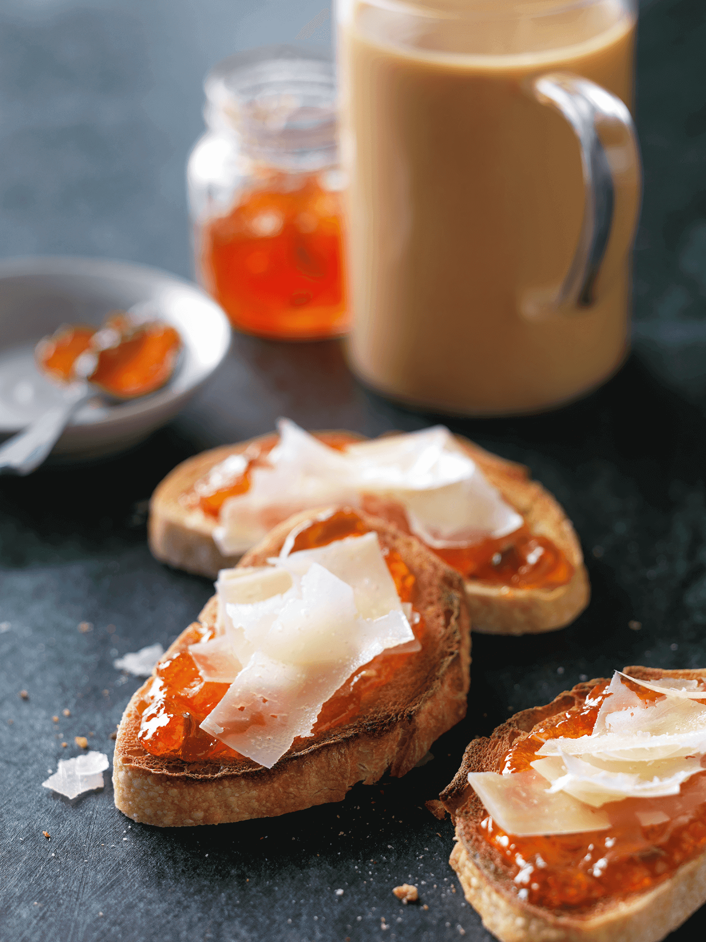 Padma Lakshmi's Toast with Manchego Cheese & Spicy Jam: Rich, buttery manchego and a kick of pepper jam are grounded by the classic crunch of toast. Pair with a sweet and spicy cup of chai to warm up any afternoon. Click through for this  recipe and more delicious chai latte pairings.