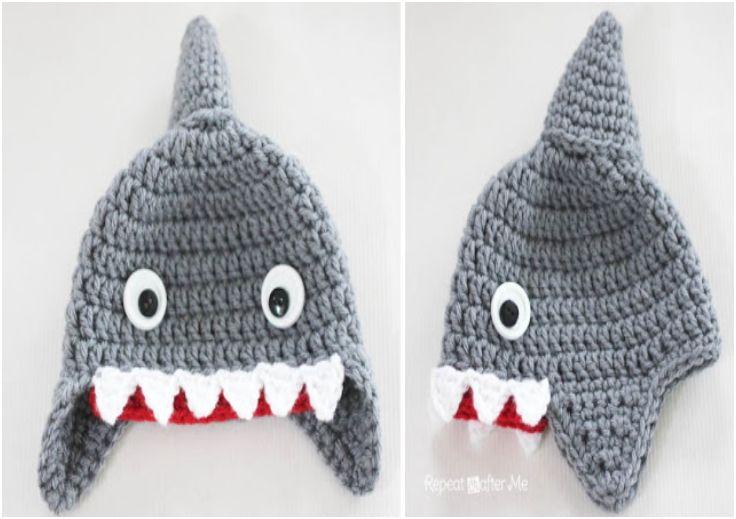 Crochet Shark Hat Pattern - http://www.repeatcrafterme.com/2013/08/crochet-shark-hat-pattern.html