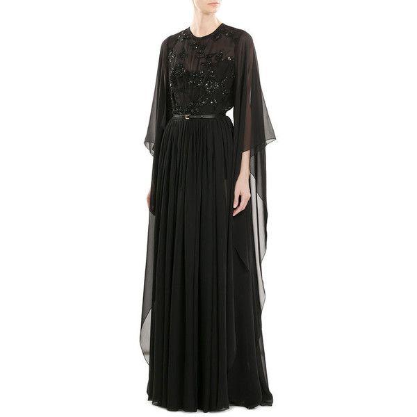 Elie Saab Embellished Silk Gown ($3,968) ❤ liked on Polyvore featuring dresses, gowns, elie saab dresses, silk dress, elie saab evening dresses, embellished dress and elie saab