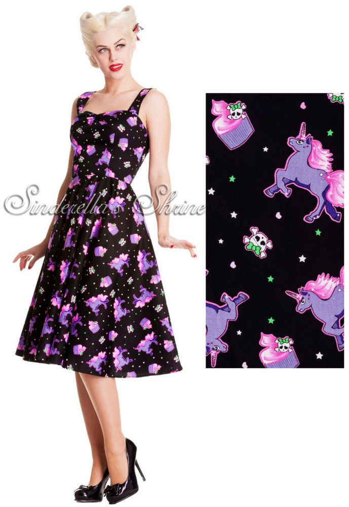 db1c2d4a9ade Hell Bunny Mystical Dress Black Pink Unicorn Cupcake Size XS-XL #HellBunny  #50sRockabilly #Casual