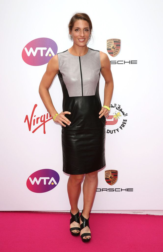 Andrea Petkovic Attends The Wta Pre Wimbledon Party At Kensington Roof Gardens On June 19 2014 In London England Leather Dress Fashion Leather Fashion