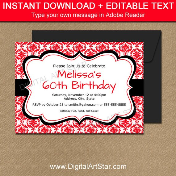 Red And Black Invitation Template Editable Red Birthday
