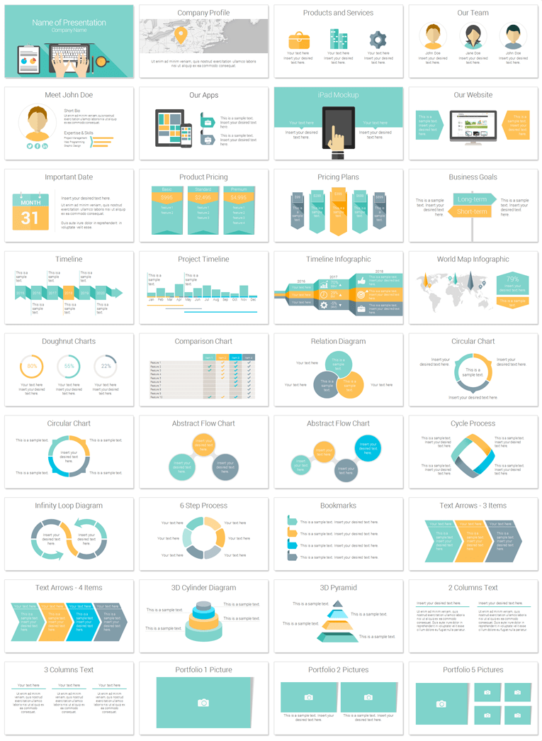 Computer powerpoint template flat design template and ppt design laptop powerpoint template in flat design style with 36 pre designed slides presentationdeck toneelgroepblik Image collections