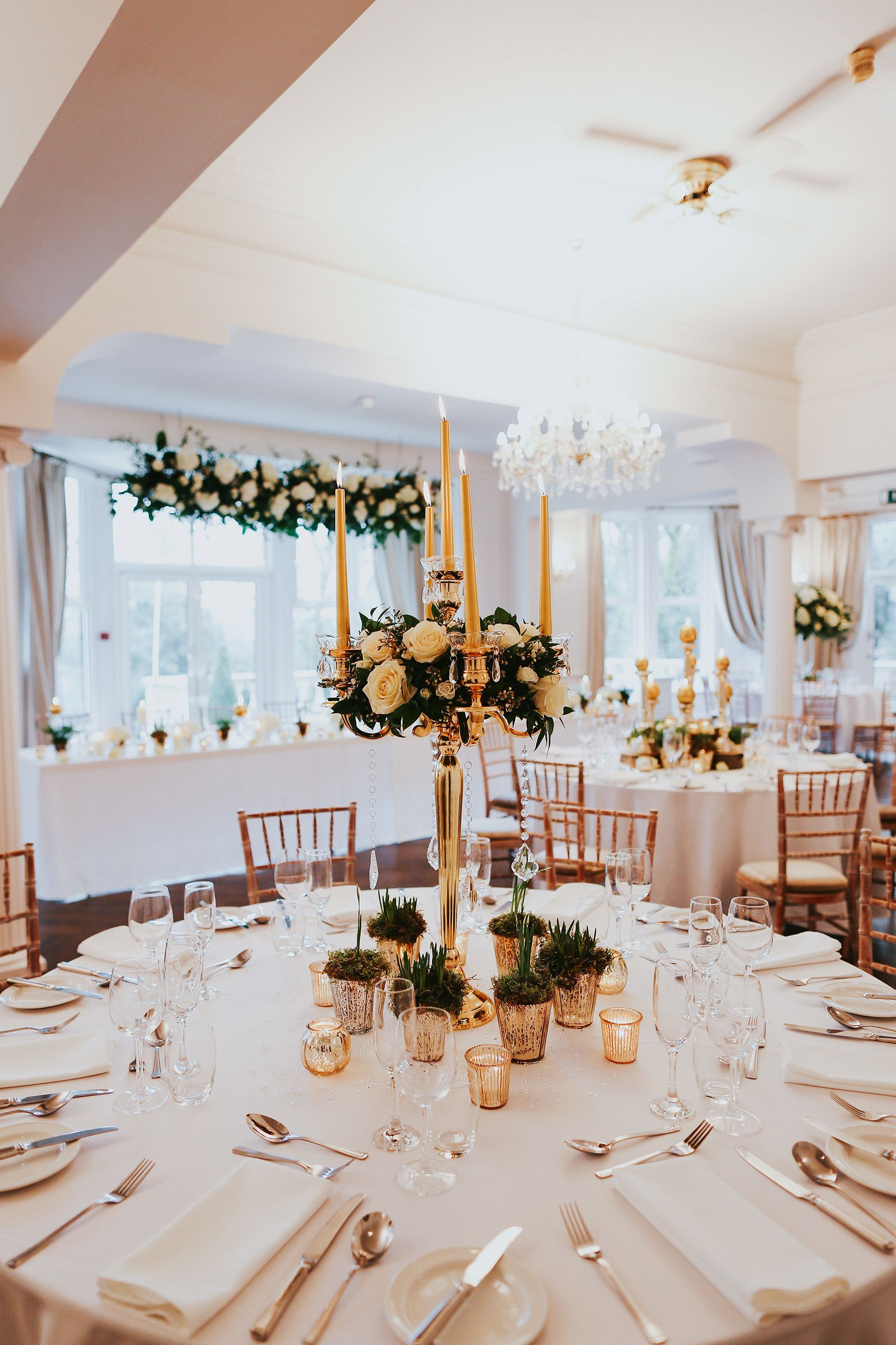 Golden dressed candelabra wedding table centrepiece   Our Table ...