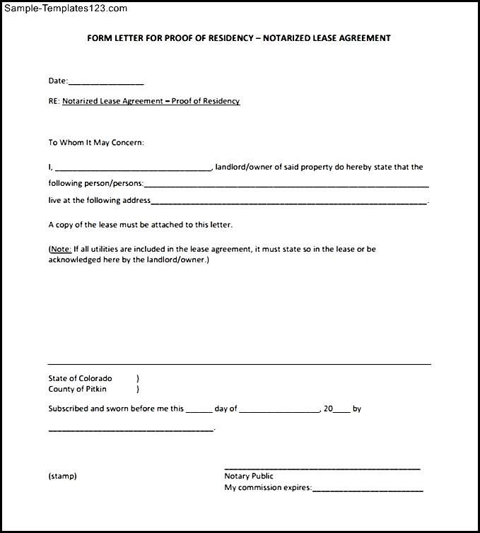 Blank Notarized Letter for Proof of Residency Template PDF Format ...