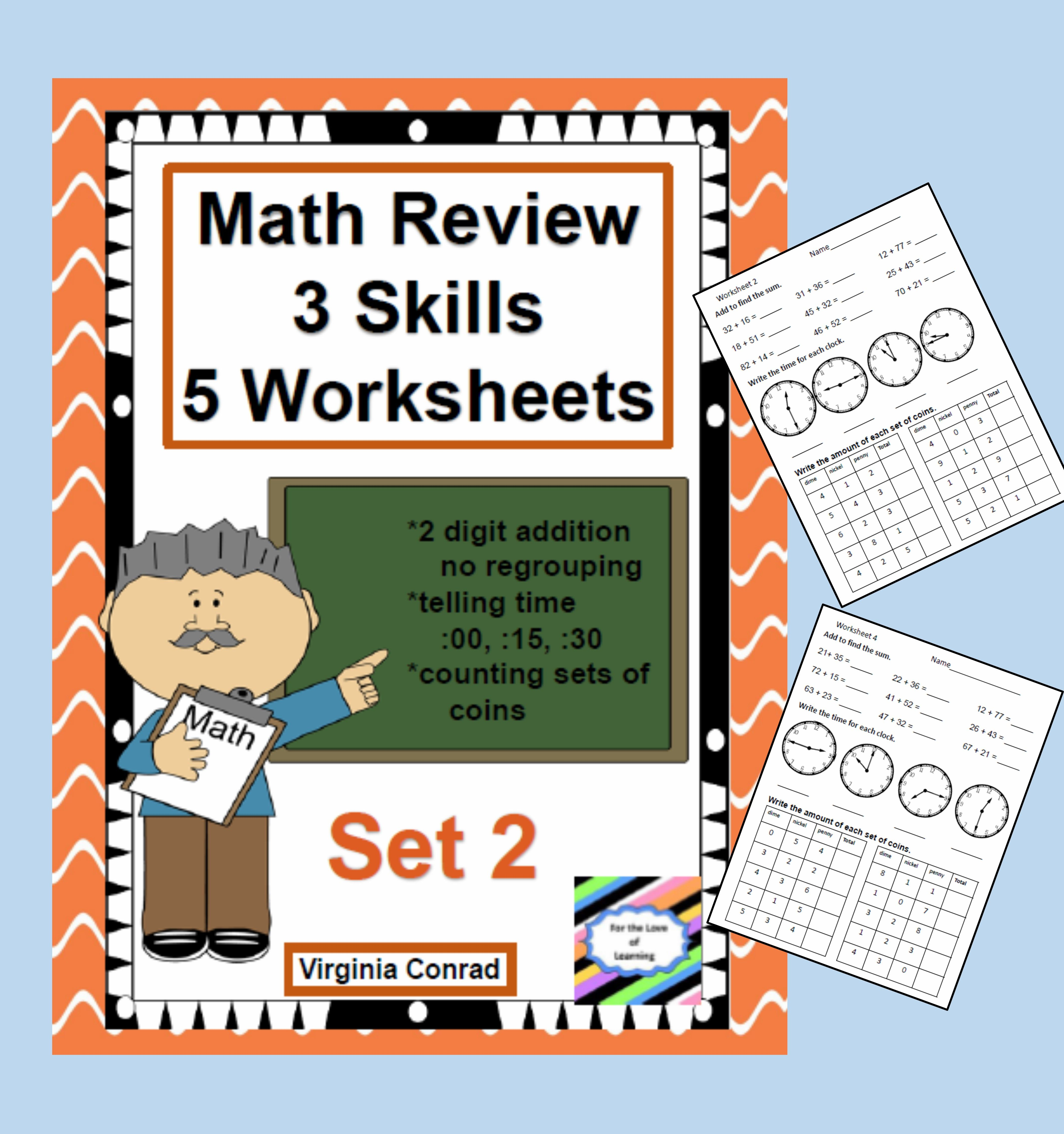 Math Review Worksheets 3 Skills For 5 Days Set 2