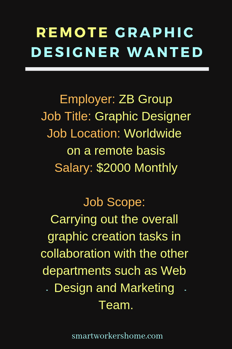 Hiring Graphic Designer Zb Group Remote Work Worldwide With