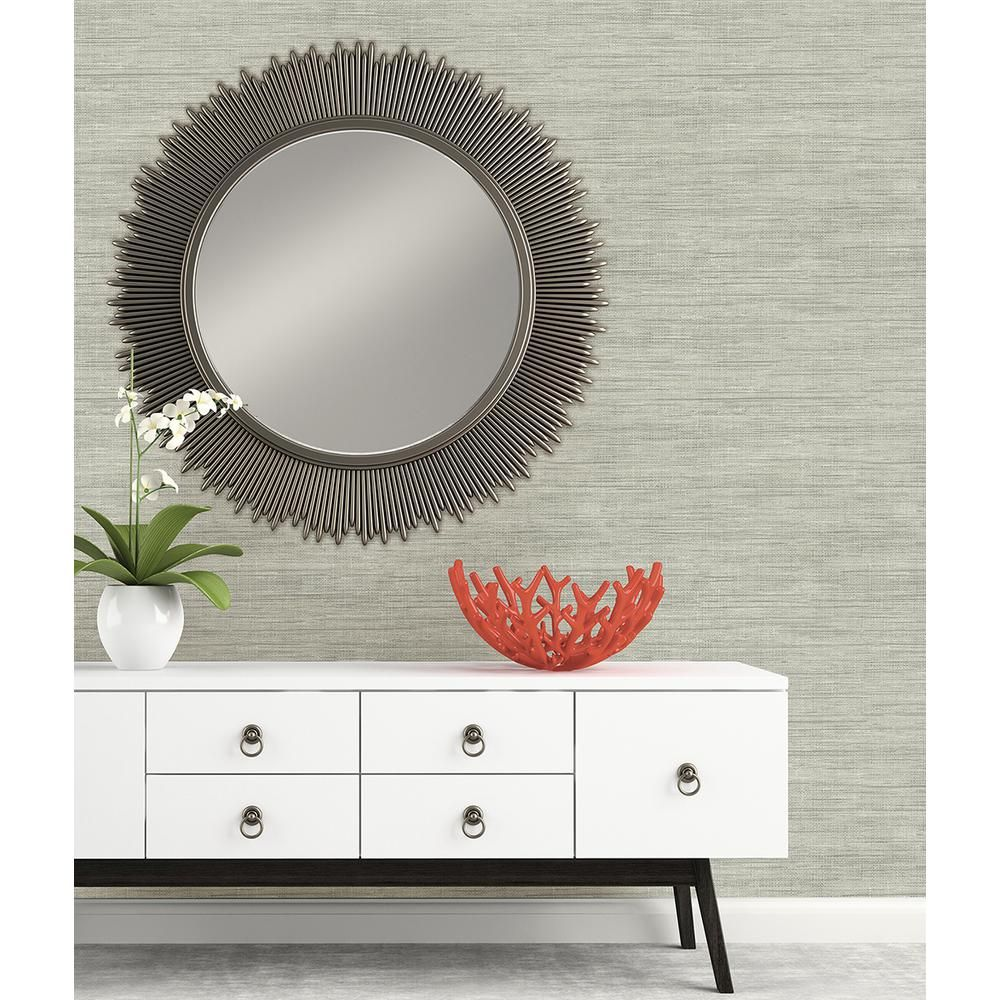 Brewster Island Grey Faux Grasscloth Wallpaper FD23285