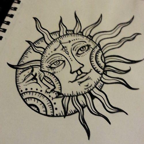 sun drawing tattoo moon design | ink | Pinterest | Tattoo ...