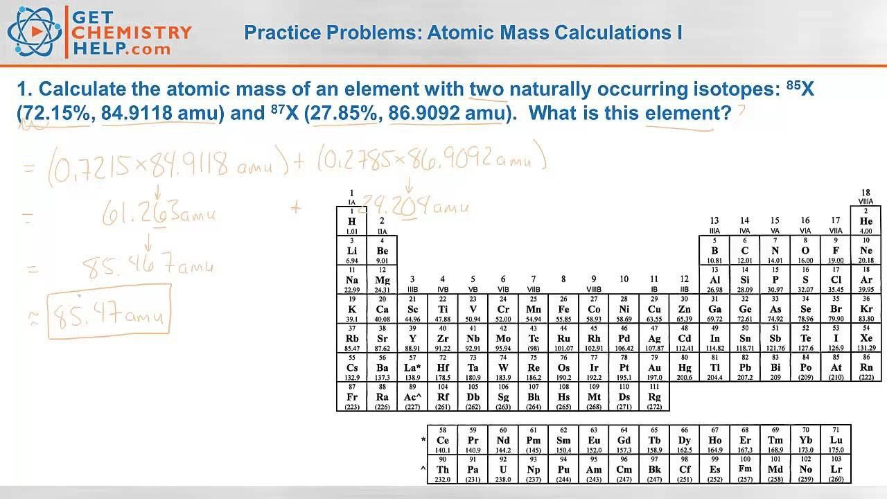 Calculating Average Atomic Mass Worksheet Chemistry Practice Problems Atomic Mass Calculations I Atom Worksheets Relative Atomic Mass